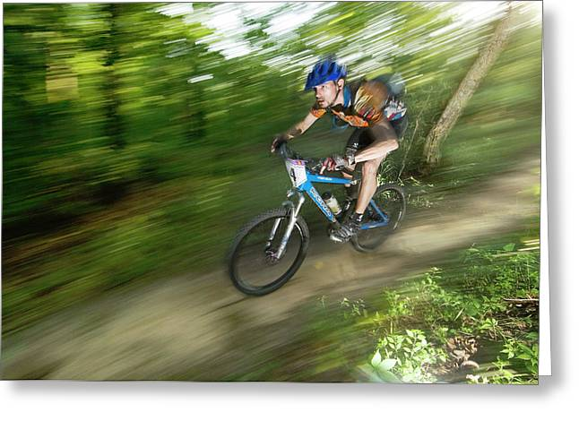 A Competitor Races Through The Woods Greeting Card