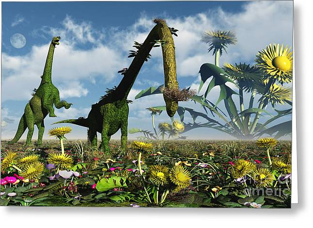 A Conceptual Dinosaur Garden Greeting Card by Mark Stevenson