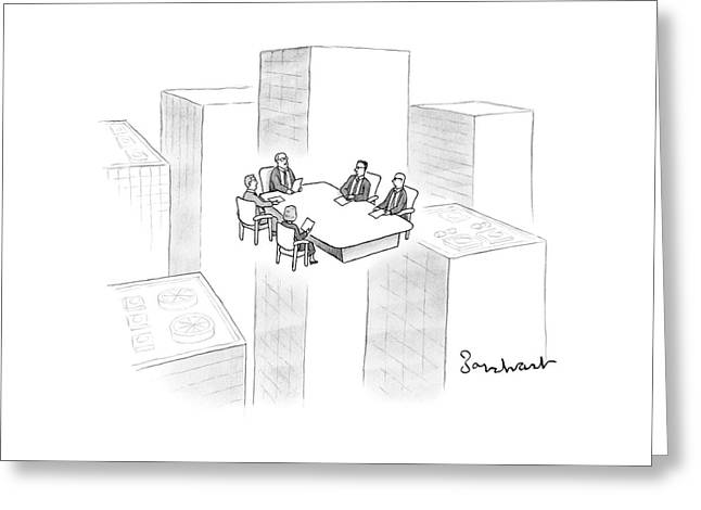 A Conference Table Of Businessmen And Women Float Greeting Card