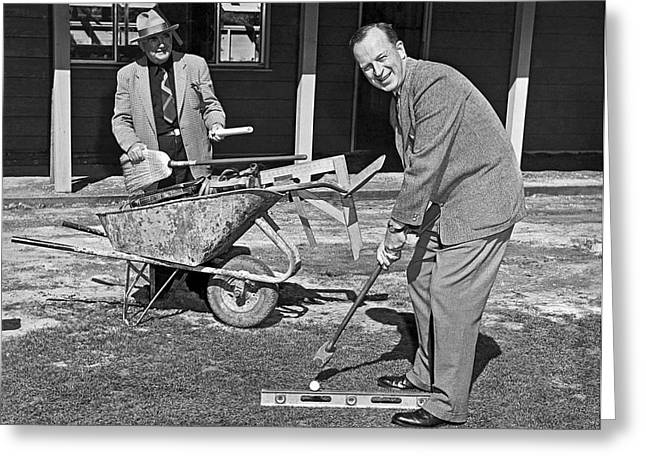 A Construction Golfer Greeting Card by Underwood Archives