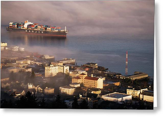 A Container Ship Emerges From The Fog Greeting Card by Robert L. Potts