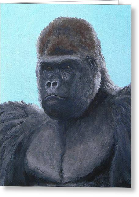 Greeting Card featuring the painting A Contemplative Gorilla by Margaret Saheed