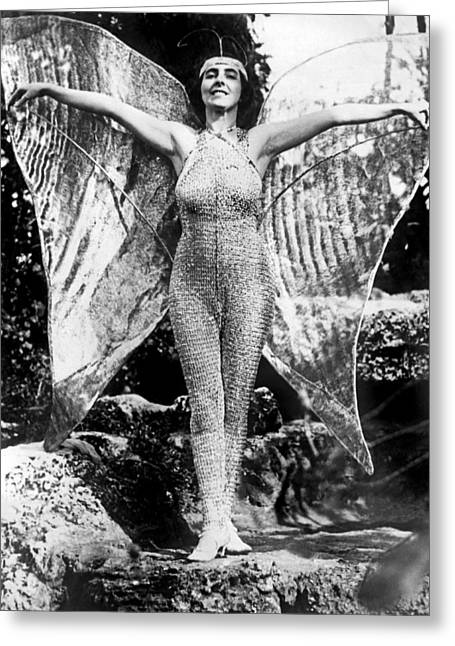 A Coral Gables Butterfly Woman Greeting Card by Underwood Archives