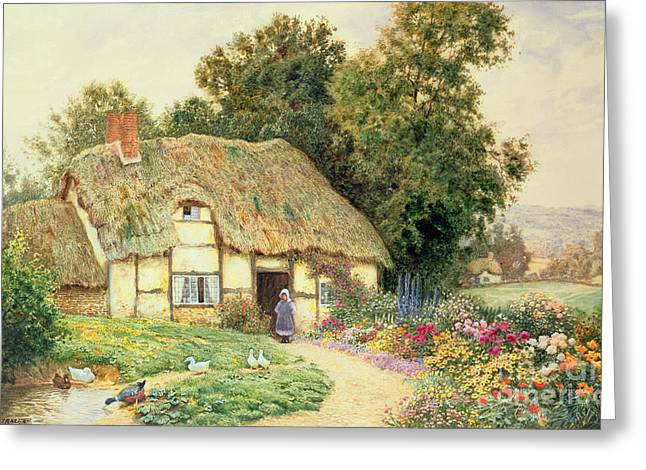 A Cottage By A Duck Pond Greeting Card by Arthur Claude Strachan