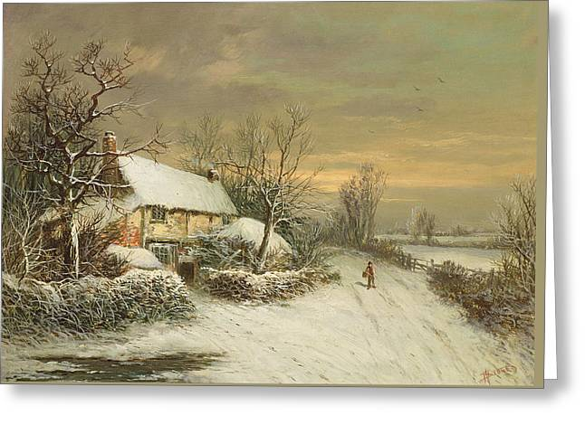A Cottage In Winter, 19th Century Greeting Card