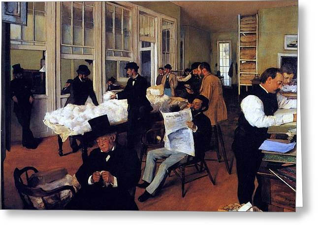 A Cotton Office In New Orleans Greeting Card by Edgar Degas