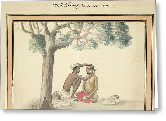 A Country Barber Greeting Card by British Library