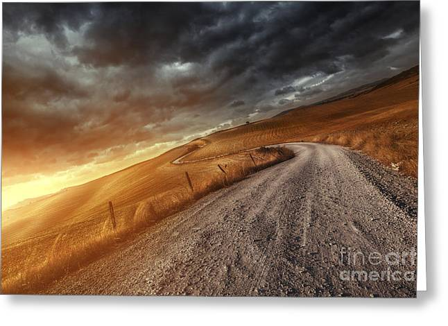A Country Road In Field At Sunset Greeting Card