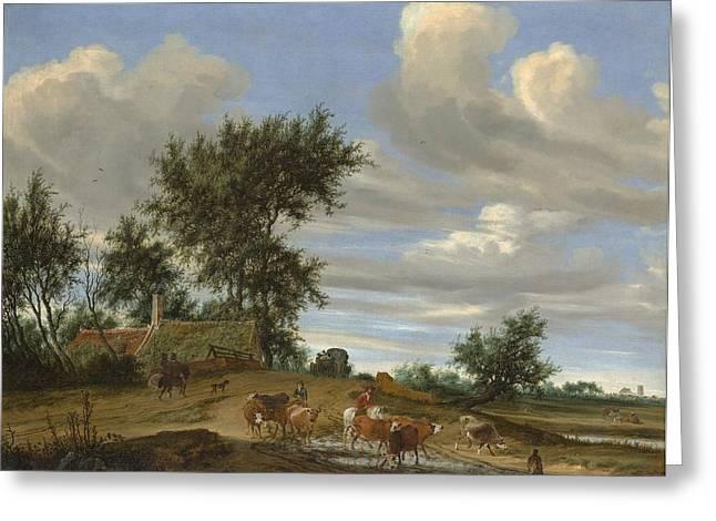 A Country Road Greeting Card by Salomon van Ruysdael