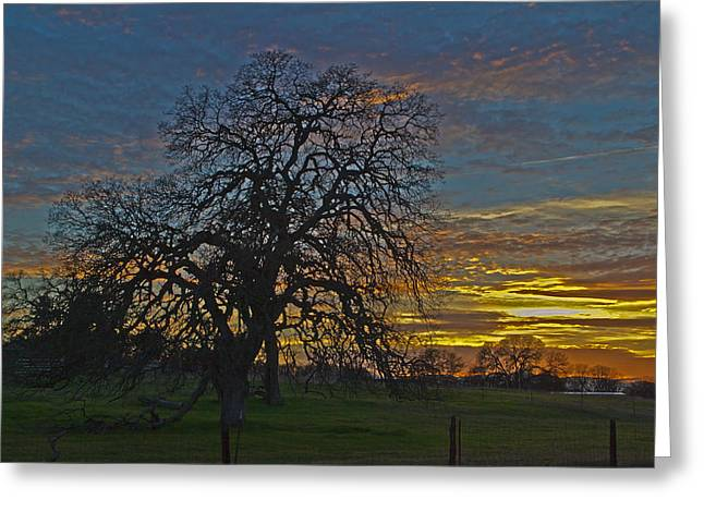 A Country Sunset Greeting Card by Richard Risely