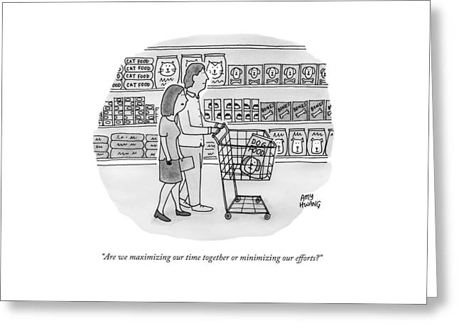 A Couple Buys Groceries Together Greeting Card