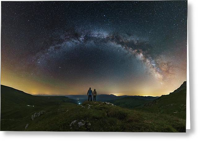 A Couple Gazing At The Milky Way Greeting Card