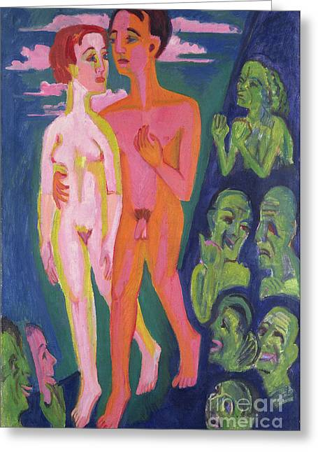 A Couple In Front Of A Crowd Greeting Card by Ernst Ludwig Kirchner