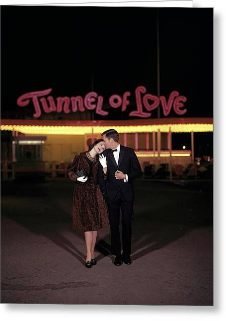 A Couple In Front Of A Tunnel Of Love Greeting Card by Jerry Schatzberg