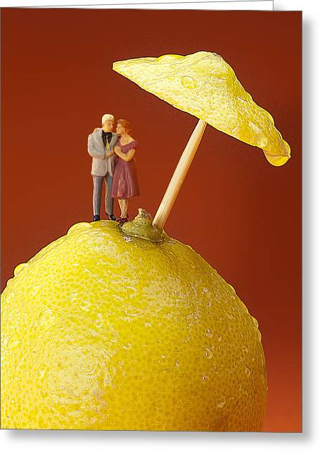 Greeting Card featuring the painting A Couple In Lemon Rain Little People On Food by Paul Ge