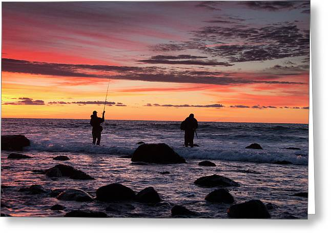 A Couple Of Fishermen Catch A Good Greeting Card by Robbie George
