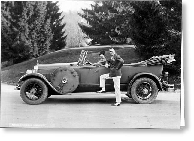 A Couple Poses By Their Car Greeting Card by Underwood Archives