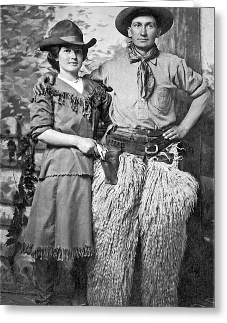 A Couple Poses In Western Gear Greeting Card by Underwood Archives