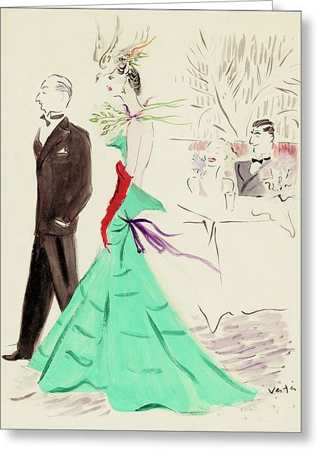 A Couple Standing In Profile Greeting Card by Marcel Vertes