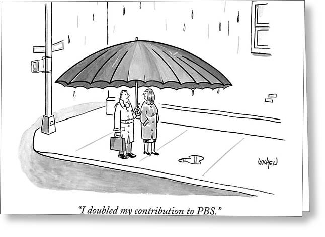 A Couple Under A Gigantic Umbrella On A City Greeting Card