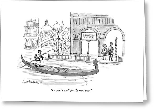 A Couple Waits Beside A Canal In Venice Greeting Card