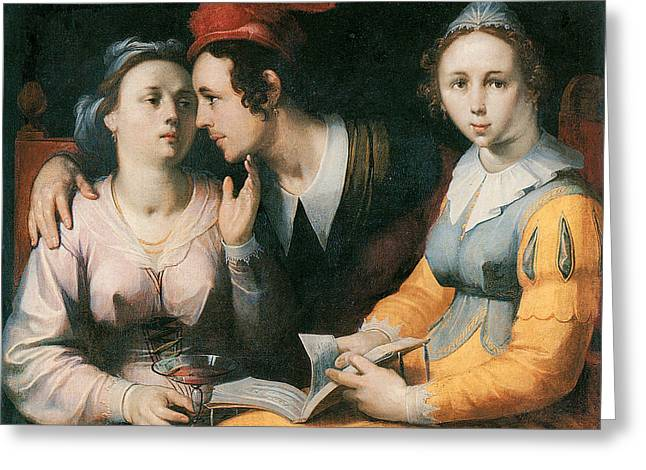 A Courting Couple And A Woman With A Songbook Greeting Card