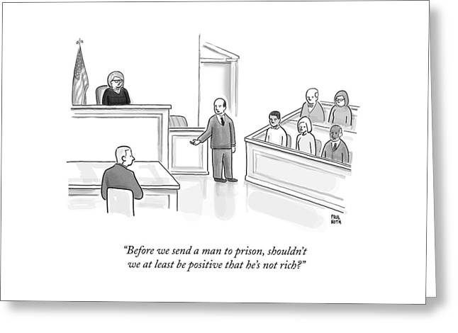 A Courtroom Lawyer Argues His Case Greeting Card
