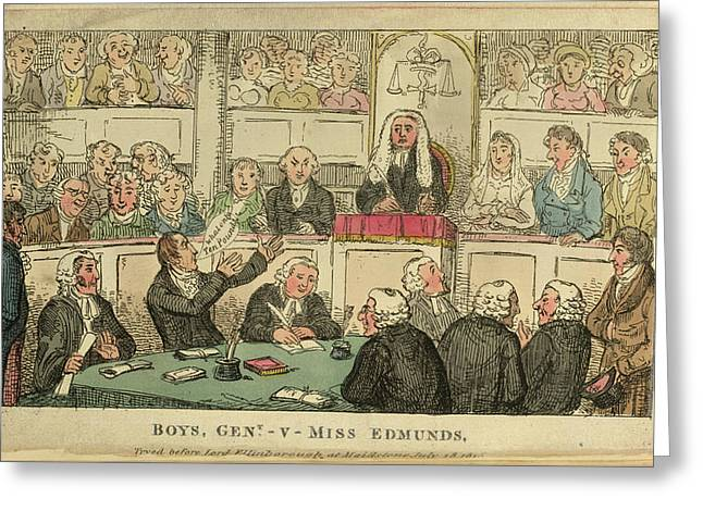 A Courtroom Scene Greeting Card by British Library