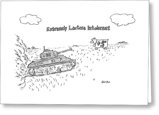 A Cow In A Pasture Watches As A Tank Approaches Greeting Card