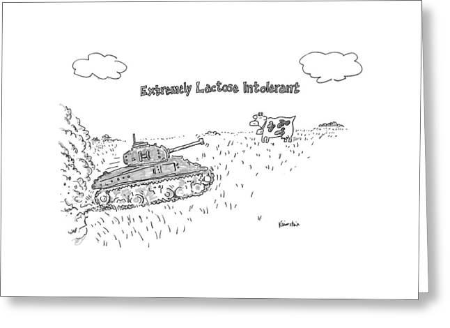 A Cow In A Pasture Watches As A Tank Approaches Greeting Card by Ken Krimstein