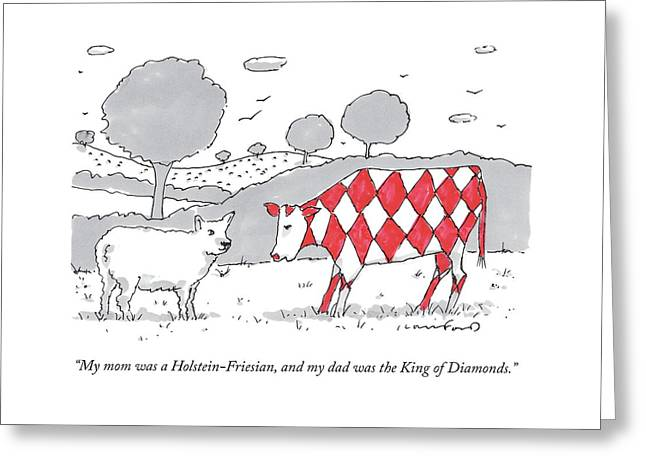 A Cow With A Red Diamond Spots Talks To Another Greeting Card