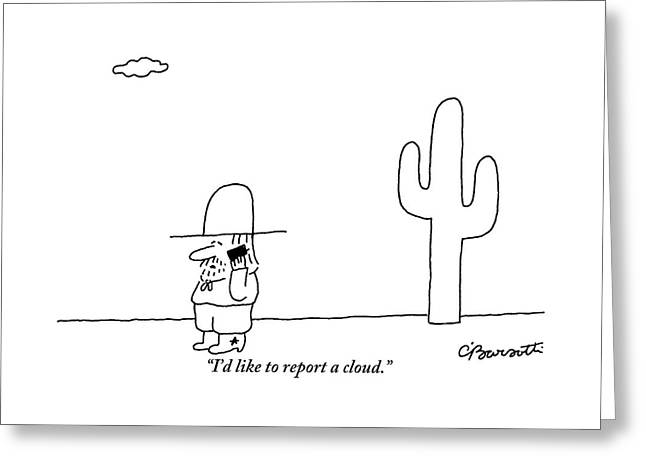 A Cowboy Talks On A Cell Phone In A Desert Greeting Card