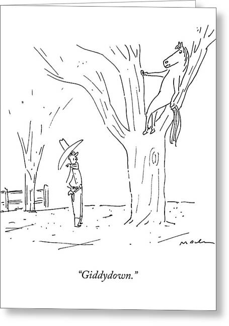 A Cowboy Talks To His Horse In A Tree Greeting Card