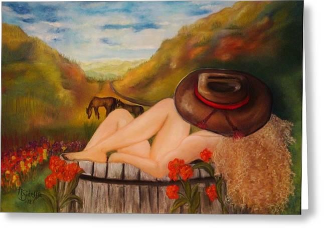 A Cowgirl Bath Greeting Card by Annamarie Sidella-Felts