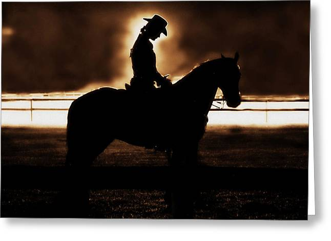 A Cowgirls Prayer Evening Ride Greeting Card by Chastity Hoff