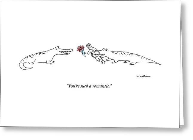 A Crocodile To Another Crocodile With A Person Greeting Card