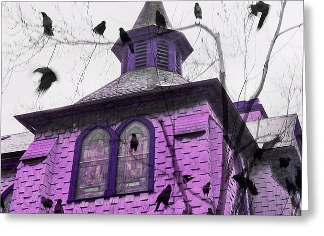 A Pink Church Crow Fantasy Greeting Card by Gothicrow Images