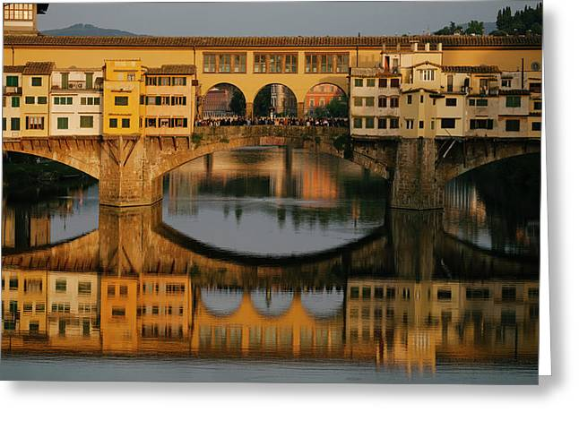 A Crowd Of Tourists On The Ponte Greeting Card by Matt Propert