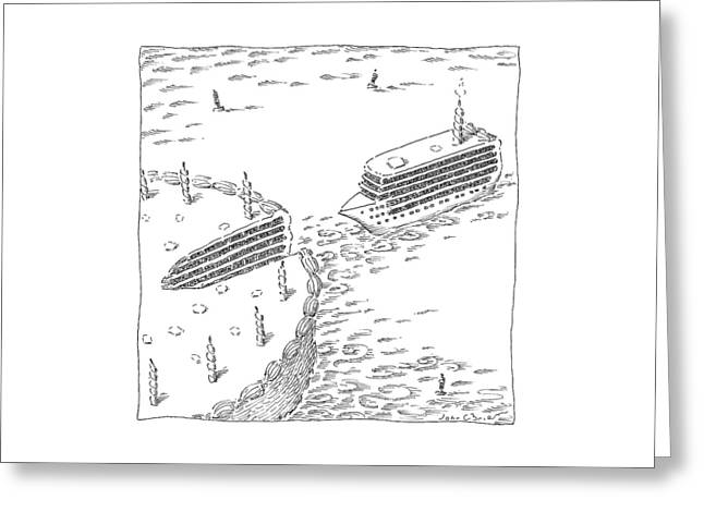 A Cruise Ship Shaped Like A Wedge Of Birthday Greeting Card