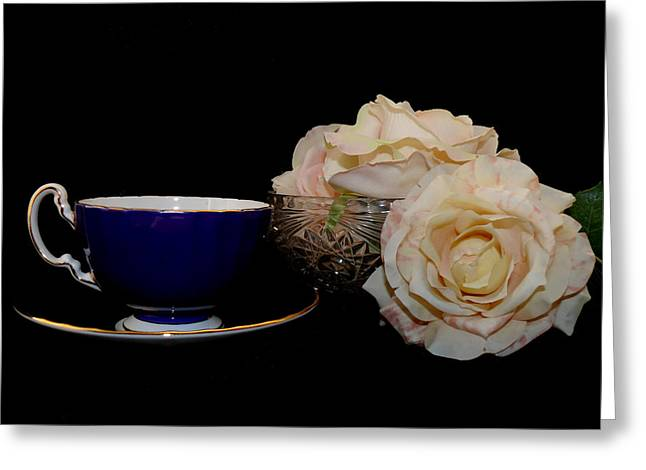 A Cup A Tea A Rose And Thee Greeting Card by Susan Duda