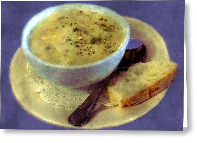 A Cup Of Chowder, A Crust Of Bread Greeting Card by RC deWinter