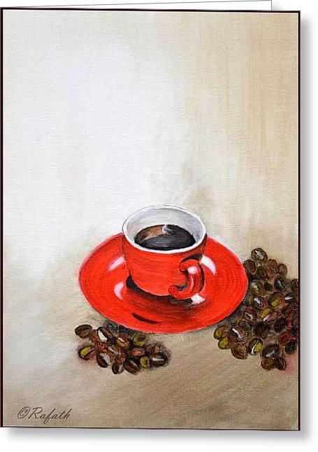 A Cup Of Coffee Greeting Card by Rafath Khan