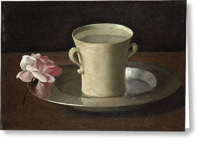 A Cup Of Water And A Rose Greeting Card
