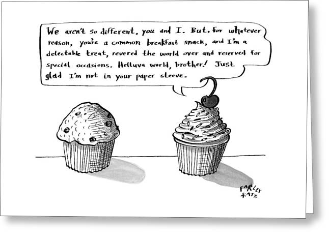 A Cupcake Talks To A Muffin. Captionless Greeting Card