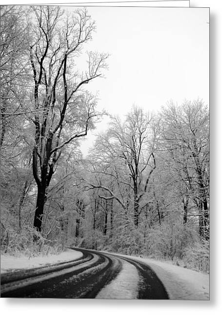 A Curve In The Road Greeting Card by Tracy Winter