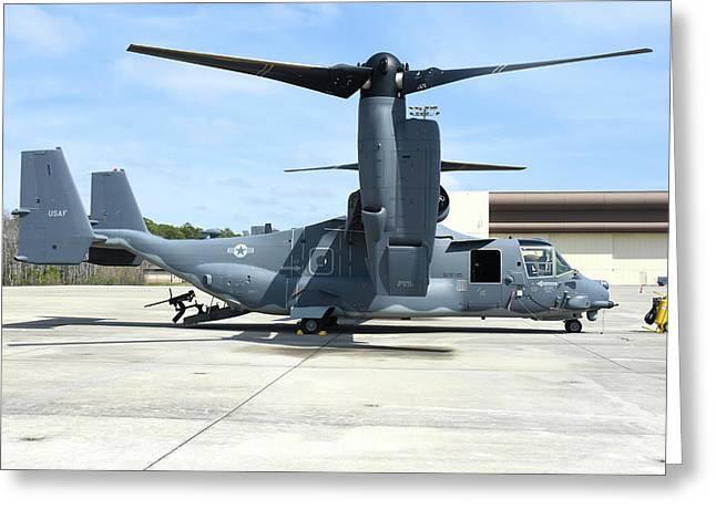 A Cv-22b Osprey On The Ramp At Hurlburt Greeting Card by Riccardo Niccoli