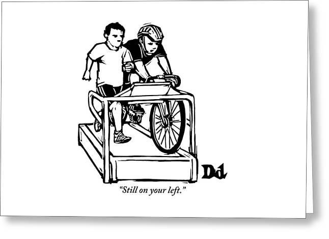 A Cyclist Says To A Jogger. They Are Both Greeting Card