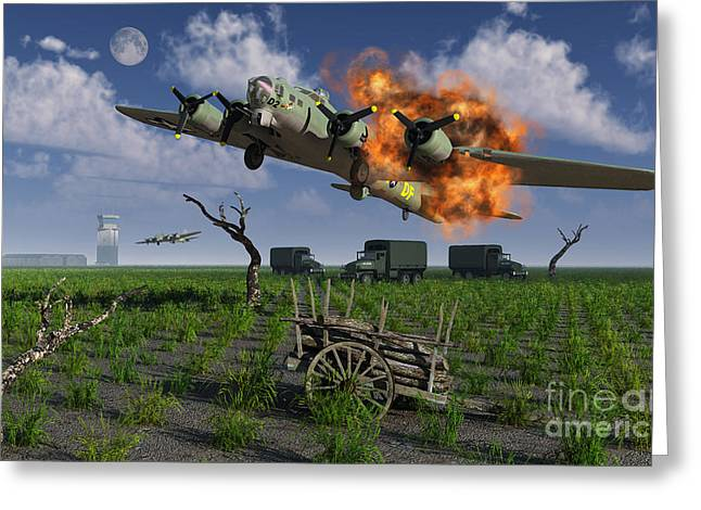 A Damaged B-17 Flying Fortress Greeting Card by Mark Stevenson
