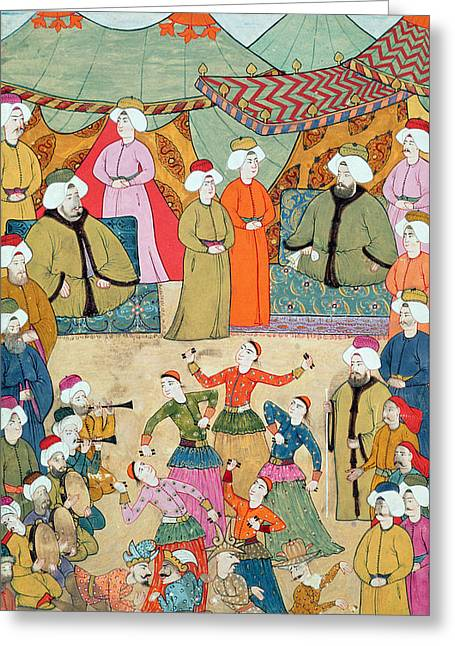 A Dance For The Pleasure Of Sultan Ahmet IIi 1673-1736 From The Surnama, 1720 Greeting Card by Ottoman School