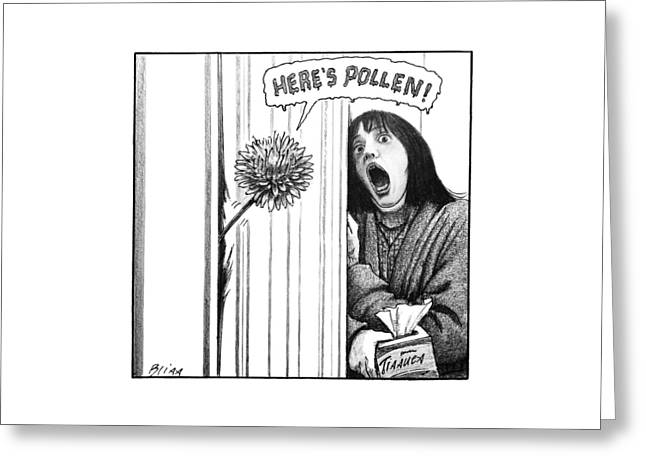 A Dandelion Pokes Into A Door Greeting Card